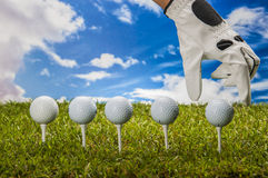 Colorful golf theme with green grass Stock Images