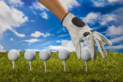 Colorful golf theme with green grass Royalty Free Stock Photography