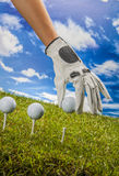 Colorful golf theme with green grass Royalty Free Stock Photos