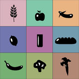 Colorful good food icons. Set of colorful good food icons Royalty Free Stock Photos