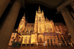 Colorful gothic St. Vitus' Cathedral on Prague Castle in the Night Royalty Free Stock Image