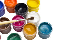 Colorful gouache paint and brush Royalty Free Stock Photography