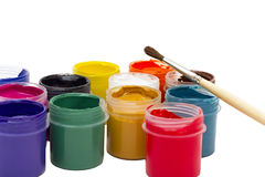 Colorful gouache paint and brush Royalty Free Stock Image