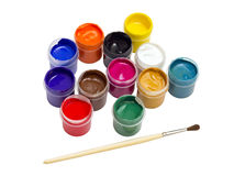 Colorful gouache paint and brush Stock Photography