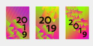Templates for card, banner, poster, flyer, cover. Colorful gradient backgrounds. Number 2019. Crearive Templates. Vector illustration royalty free stock photos