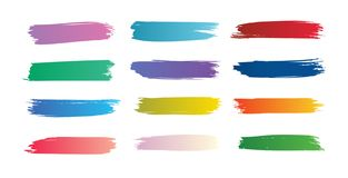 Colorful gradient brushstroke set paint brushes various colors. Red, green, violet, blue, yellow, pink vector illustration