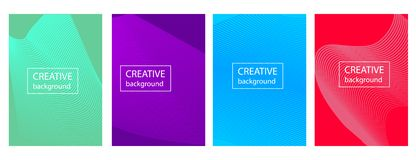 Colorful gradient cover design with abstract lines and geometric pattern. stock illustration