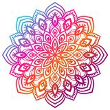 Colorful gradient flower mandala. Hand drawn decorative element. Ornamental round doodle floral element. Stock Images