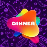 Colorful gradient flyer for cafe on bright and glossy background with dinner quote. Linear doodle illustration of food. Composition of multi-colored gradients vector illustration