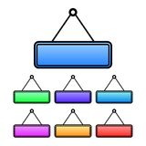 Colorful gradient hanging sign icon. Seven variations. Blank sign. Isolated on white. Wall hanging signs Royalty Free Stock Photography