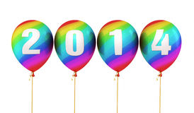Colorful Gradient New Year 2014. Balloons render (isolated on white and clipping path vector illustration