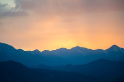Colorful gradient sunset under the distant Tibetan Royalty Free Stock Photography
