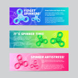 Colorful Gradient Vector Fidget Spinner Banners Set with Typography. Bright Strips for Web Sites and On-line Shops. Stock Image