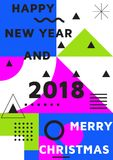 Bright festive New Year poster. Colorful gradient vector illustration of celebration for Happy new year 2018 season Royalty Free Stock Images