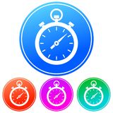 Colorful, gradient white timer/stopwatch icon. Four color variations. Isolated on white vector illustration