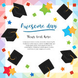 Colorful graduation day card illustration design. With flying graduation caps Stock Photo