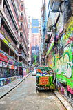 Colorful graffiti artwork at Hosier Lane in Melbourne Stock Photo
