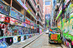 Colorful graffiti artwork at Hosier Lane in Melbourne Stock Images