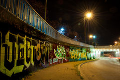 Colorful graffiti in auto tunnel. Timisoara, Romania Stock Images