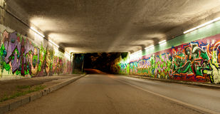 Colorful graffiti in auto tunnel Royalty Free Stock Images