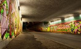Colorful graffiti in auto tunnel Royalty Free Stock Photo