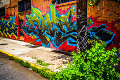 Colorful graffiti on a brick building in Little Five Points, Atl Royalty Free Stock Images