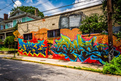 Colorful graffiti on a brick building in Little Five Points, Atl Royalty Free Stock Photography