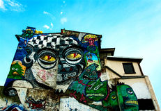 Colorful Graffiti. In Bucharest, Romania painted by Pisica Stock Photos