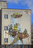 Colorful graffiti on the building in sleeping district of Ljubljana. Slovenia stock images
