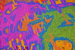 Colorful graffiti. Detail of graffiti wall, part of the city, where artists decorated the old buildings and factories walls stock illustration