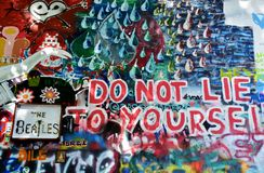 Graffity on John Lennon Wall Prague. Colorful graffiti - Do not lie to yourself !, on John Lennon Wall Prague, Europe Royalty Free Stock Images