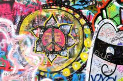 Colorful graffiti at the john lennon wall in prague Stock Images