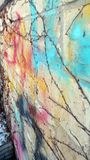 Colorful graffiti on wall with vines stock photography