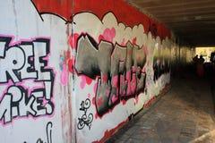 Colorful graffiti street art. Colorful graffiti under a bridge in the street of the dutch city zaandam, the netherlands. Taken on 13-11-2008 Royalty Free Stock Photography