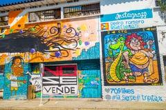 Colorful graffiti street art in Cartagena. CARTAGENA, COLOMBIA - FEBRUARY 25, 2015: Colorful creative graffiti street art in Cartagena de Indias Stock Photography