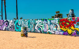 Colorful Graffiti on a wall and barrel at Venice Beach Stock Photos