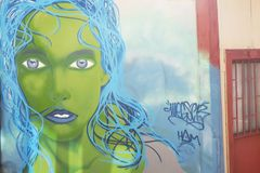 Colorful graffiti on a wall in valparaiso in chile stock photography