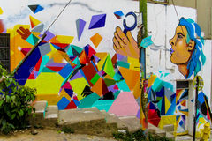 Colorful graffity with face Stock Images