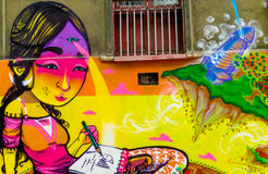 Colorful graffity with girl`s face Stock Photos