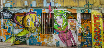 Colorful graffity with girl`s face Stock Photography