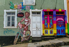 Colorful graffity with man riding bycicle Stock Photography