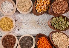 Colorful grains and seeds for the gluten free diet royalty free stock image