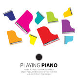 Colorful Grand piano and chair. Music instrument. Vector illustration Royalty Free Stock Photos