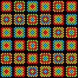 Colorful granny square crochet blanket ornament on black, vector Stock Photos