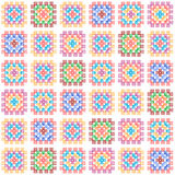 Colorful granny square crochet blanket seamless pattern on white, vector. Background royalty free illustration