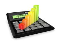 Colorful graph on a calc. Stock Photos
