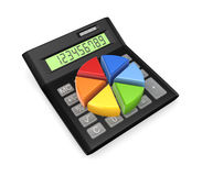 Colorful graph on calc. Isolated on white.3d rendered Royalty Free Stock Photography
