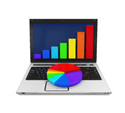 Colorful Graph Chart and Laptop. Isolated on white background. 3D render Stock Image