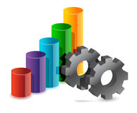 Colorful graph and gear business Royalty Free Stock Photography