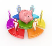 Colorful graph, piggy bank and 3d small people. Royalty Free Stock Photography
